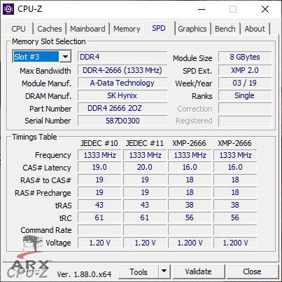 CPU-Z SPD XPG Spectrix D41 2666